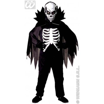 Scary Skeleton With Jumpsuit, Cape Collar, Mask Costume (Halloween)
