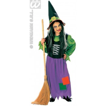 Witch With Dress And Hat Fancy Dress Costume Girls (Halloween)