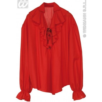 Pirate Shirt Mens Red Fancy Dress Costume (Pirates)