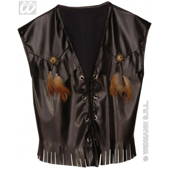 Western Vest Leatherlook Fancy Dress Costume (Cowboys/Native Americans)