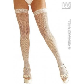 Lace Top F/Net Thigh Highs White - Fancy Dress (Christmas)