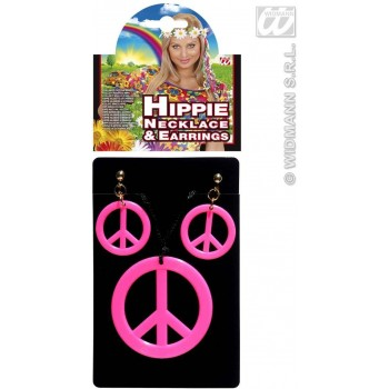Hippie Necklace+Earrings Set 4 Neon Colors, Fancy Dress (1960S)