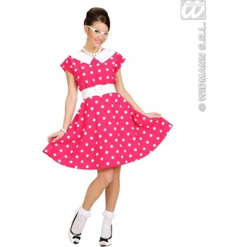 50S Lady W/Sewn, In Petticoat, Pink Fancy Dress Costume (1950S)