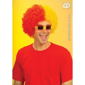 Two-Tone Curly Wig - Red/Yellow Fancy Dress