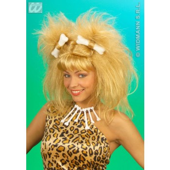Cavewoman Wig W/ 2 Bones - Fancy Dress Ladies (Cavemen)