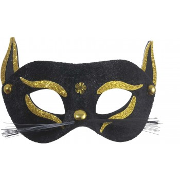 Black Cat Eyemask With Gold Glitter - Fancy Dress