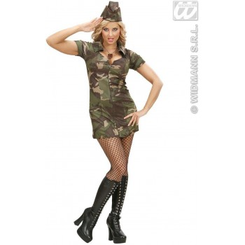 Soldier Girl Fancy Dress Costume Ladies (Army)