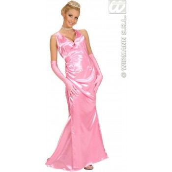 Satin Pink Celebrity Dress - Gloves Fancy Dress