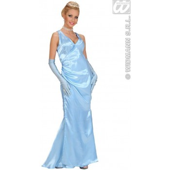 Satin Blue Celebrity With Dress-Gloves Fancy Dress