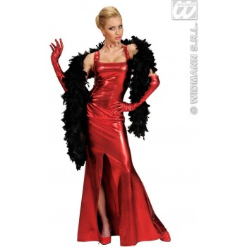 Stretch Fab.Red Cocktail Dress/Gloves Costume Ladies