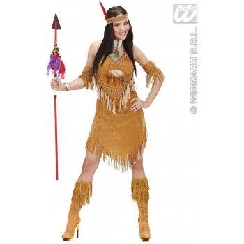 Suedelook Native American Woman Fancy Dress Costume Ladies (Cowboys/Native Americans)
