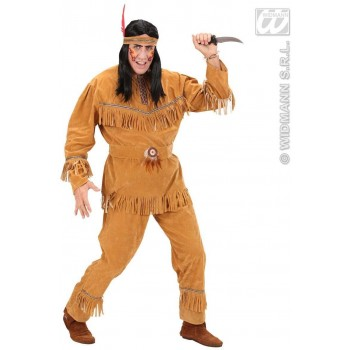 Suedelook Native American Man Fancy Dress Costume Mens (Cowboys/Native Americans)