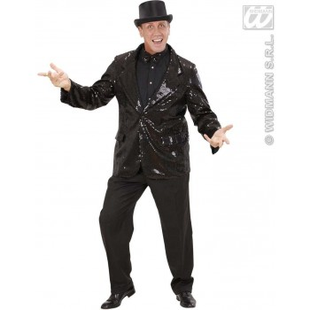 Black Sequin Jacket Fancy Dress Costume Mens