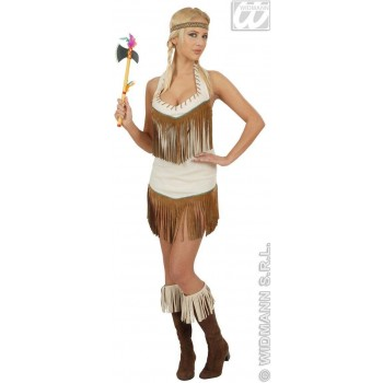 Native American With Dress, Headband Fancy Dress Costume Ladies (Cowboys/Native Americans)