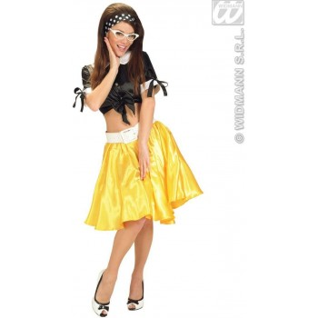 Yellow Satin Skirts W/Sewn - In Petticoat - Fancy Dress