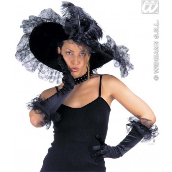 Lace Decorated Hat/Glove Set - Fancy Dress