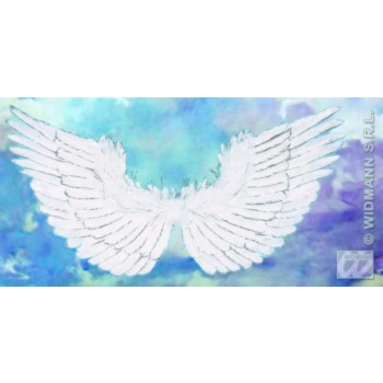 WHITE FEATHERED WINGS SILVER GLITTER 86X42, FANCY DRESS (CHRISTMAS)