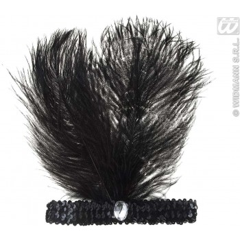Black Sequin Headbands W/2 Feathers & Gem, Fancy Dress