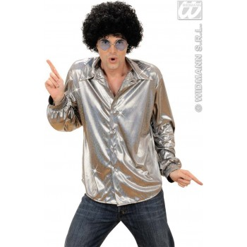 Holographic Sequin Shirt - Silver - Fancy Dress