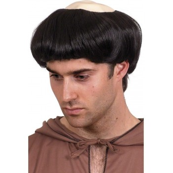 Monks Wig - Fancy Dress Mens (Vicars/Nuns)(Black