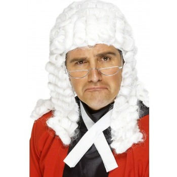 White Judges Wig - Fancy Dress Mens (Cops/Robbers)