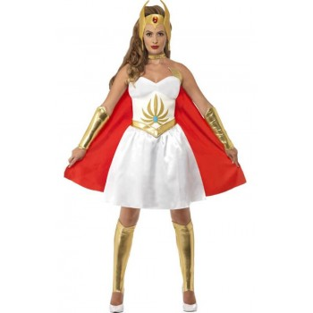 Ladies 80's Latex She-Ra Cartoon Fancy Dress Costume