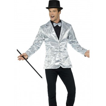Sequin Jacket Silver, Mens Fancy Dress Costume