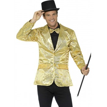 Sequin Jacket Gold, Mens Fancy Dress Costume