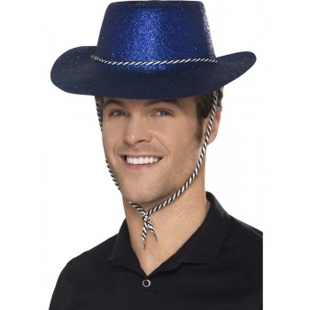 Cowboy Glitter Hat, Blue, with Chord Fancy Dress Accessory