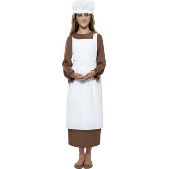 Victorian Kit Apron & Mop Cap Only (Halloween Fancy Dress)