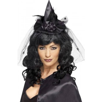 Ladies Black Witch Mini Hat (Fancy Dress Accessory)
