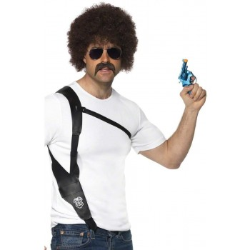 Leather Look Shoulder Holster - Fancy Dress Mens (Cops/Robbers)