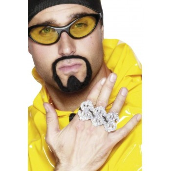 3 In 1 Dollar Rapper Ring - Fancy Dress Mens (Pimp)