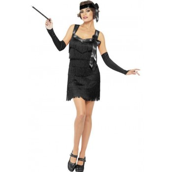 Ladies Black Showtime Flapper Fancy Dress Costume