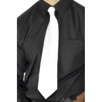Deluxe White Gangster Tie - Fancy Dress Mens (1920S)
