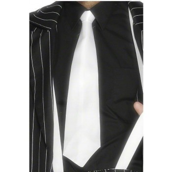 White Gangster Tie On Elastic - Fancy Dress Mens (1920S)