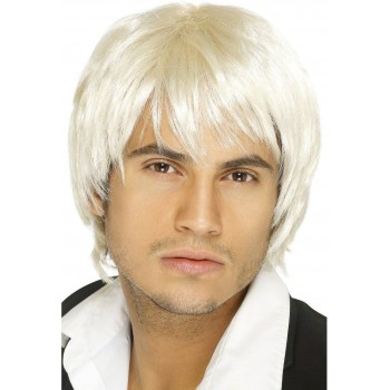 Boy Band Wig - Fancy Dress Mens (Short) - Blond
