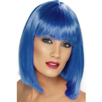 Glam Wig Fancy Dress Ladies - Blue