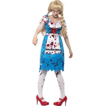 Ladies Blue Zombie Bavarian Female  (Fancy Dress Costume)