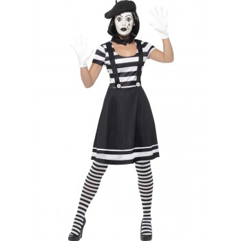 Lady Mime Artist Costume Fancy Dress