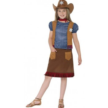 Girls Western Belle Cowgirl Fancy Dress Costume