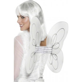 Angel Glitter Wings - Fancy Dress Ladies - White