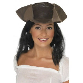 Leather Look Pirate Hat - Fancy Dress Mens (Pirates)