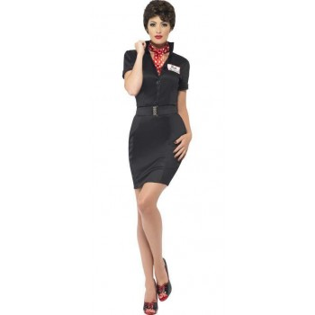 Ladies Black Grease Rizzo Fancy Dress Costume