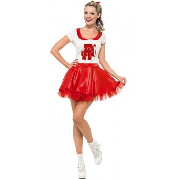 Ladies Red & White Grease Sandy Cheerleader Fancy Dress Costume