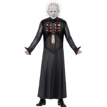 Men'S Official Black Hellraiser Pinhead Halloween Fancy Dress Costume