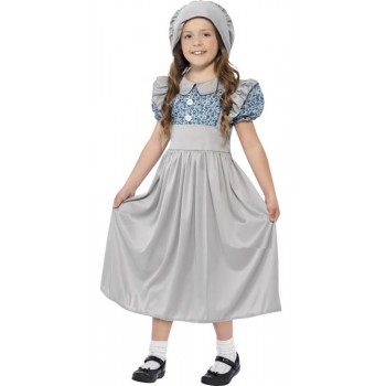 Girls Grey Victorian School Girl Fancy Dress Costume