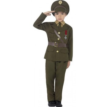 Boys Green Army Officer Fancy Dress Costume