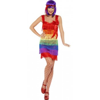 Ladies 1920's Rainbow Flapper Fancy Dress Costume