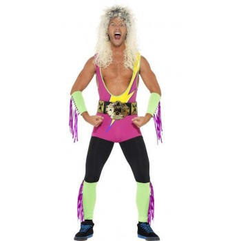 Mens Pro Wrestler Sport Fancy Dress Costume